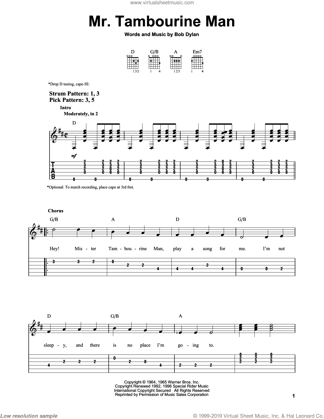 Mr. Tambourine Man sheet music for guitar solo (easy tablature) by Bob Dylan. Score Image Preview.