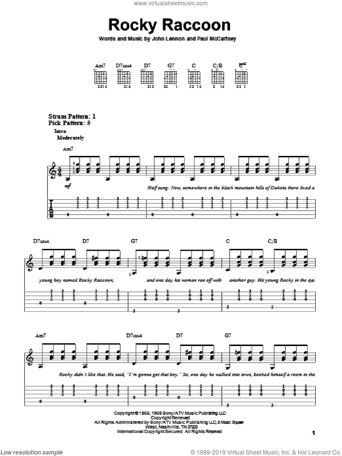 Rocky Raccoon sheet music for guitar solo (easy tablature) by Paul McCartney, The Beatles and John Lennon. Score Image Preview.