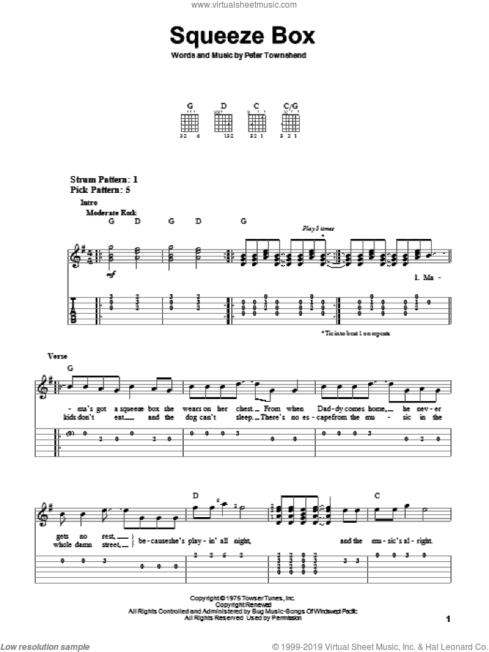 Squeeze Box sheet music for guitar solo (easy tablature) by Pete Townshend