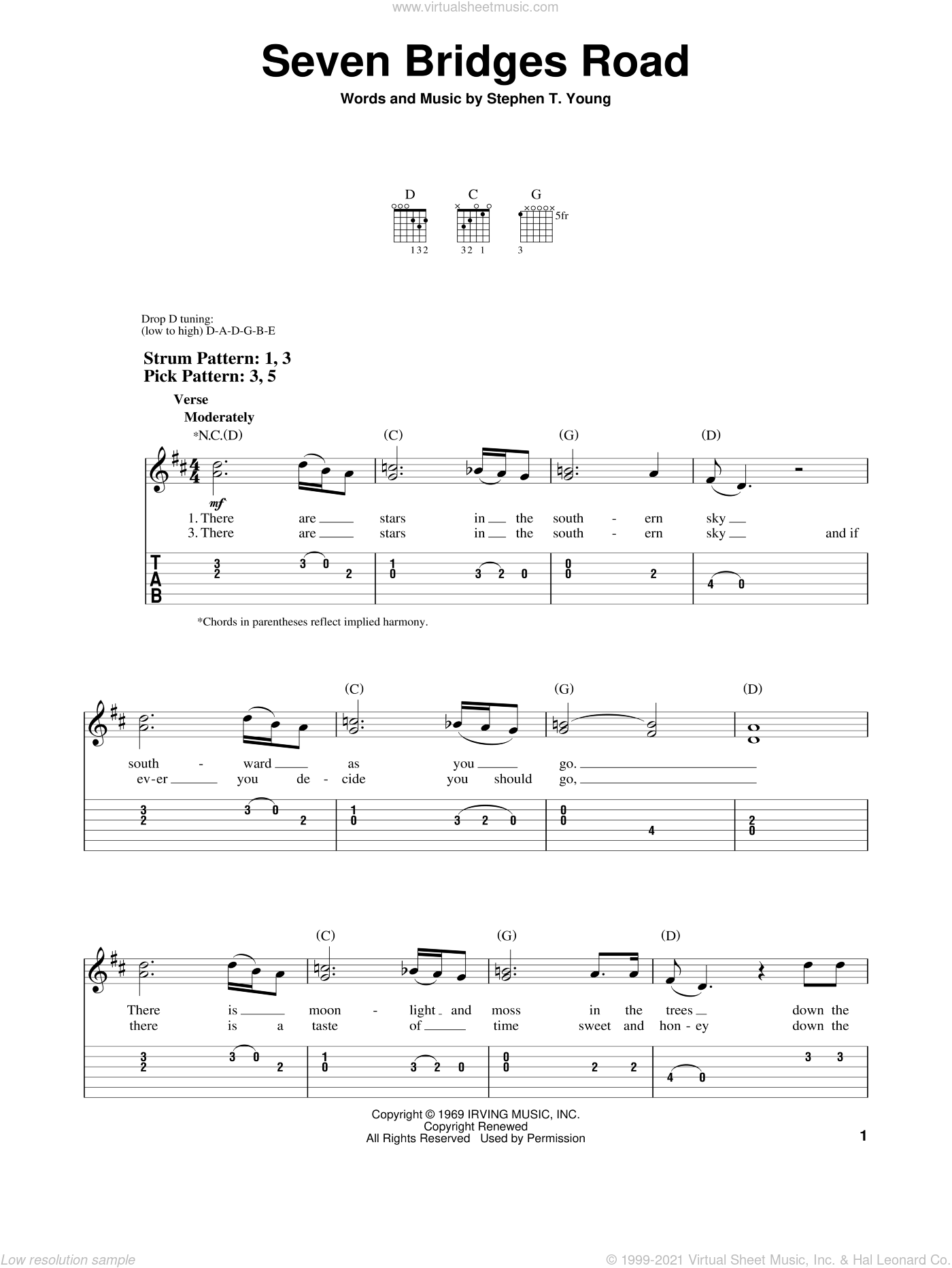 Seven Bridges Road sheet music for guitar solo (easy tablature) by Stephen T. Young