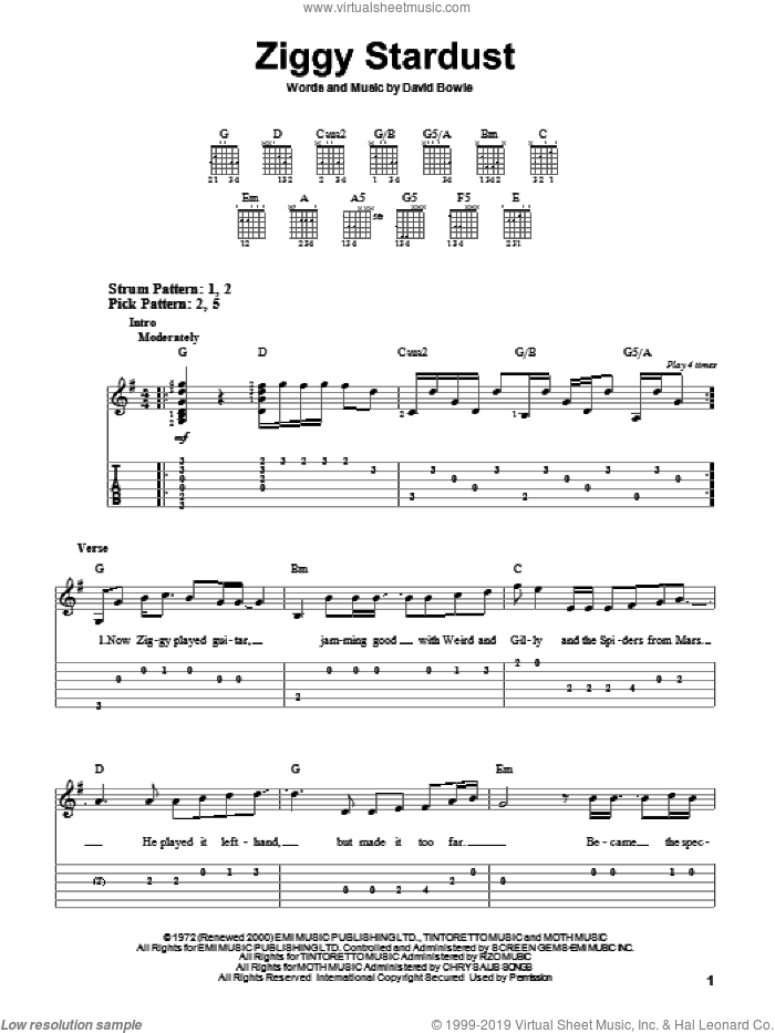 Ziggy Stardust sheet music for guitar solo (easy tablature) by David Bowie. Score Image Preview.