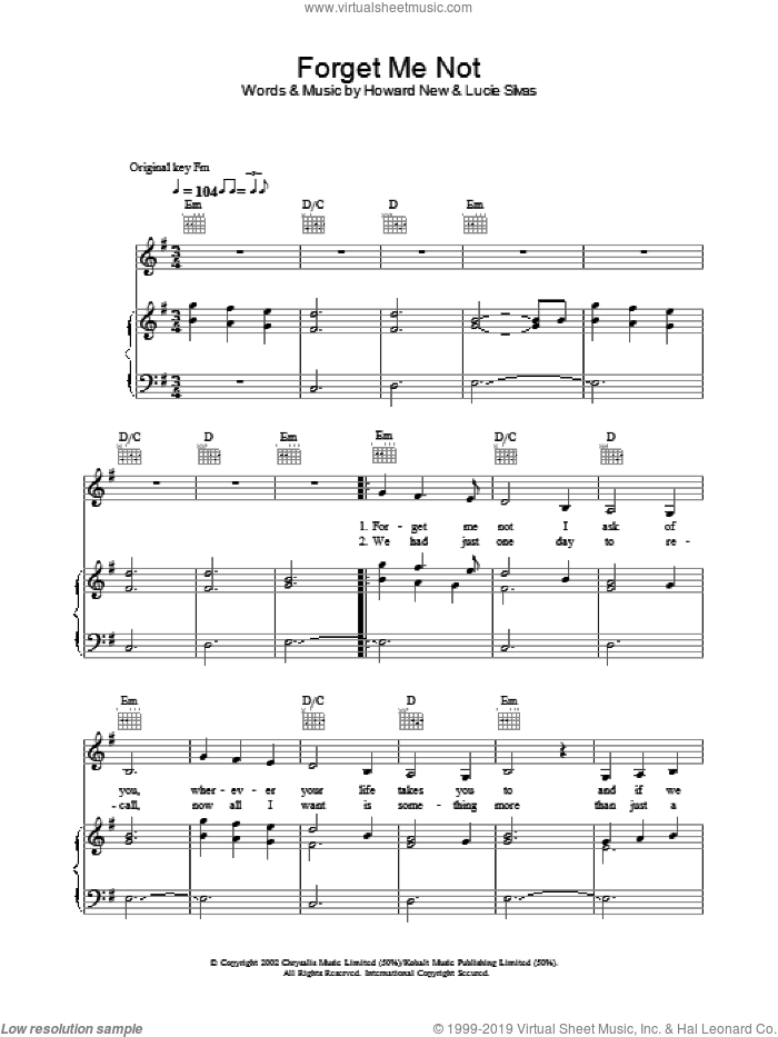 Forget Me Not sheet music for voice, piano or guitar by Howard New and Lucie Silvas. Score Image Preview.