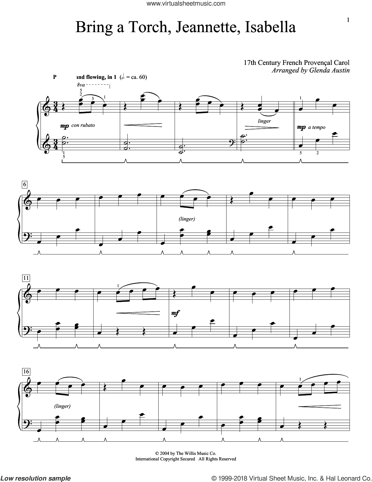 Bring A Torch, Jeannette Isabella sheet music for piano solo (elementary) by Anonymous, Glenda Austin and Miscellaneous, beginner piano (elementary)