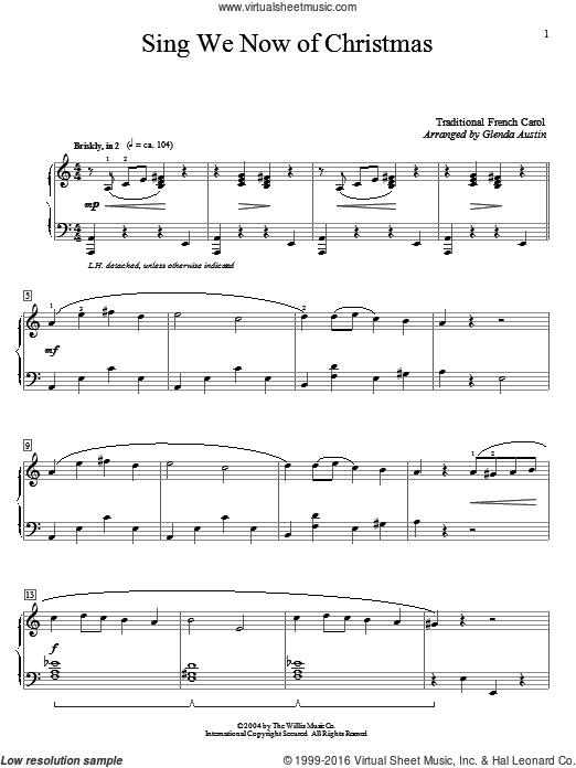Sing We Now Of Christmas sheet music for piano solo (elementary)  and Glenda Austin, beginner piano (elementary)