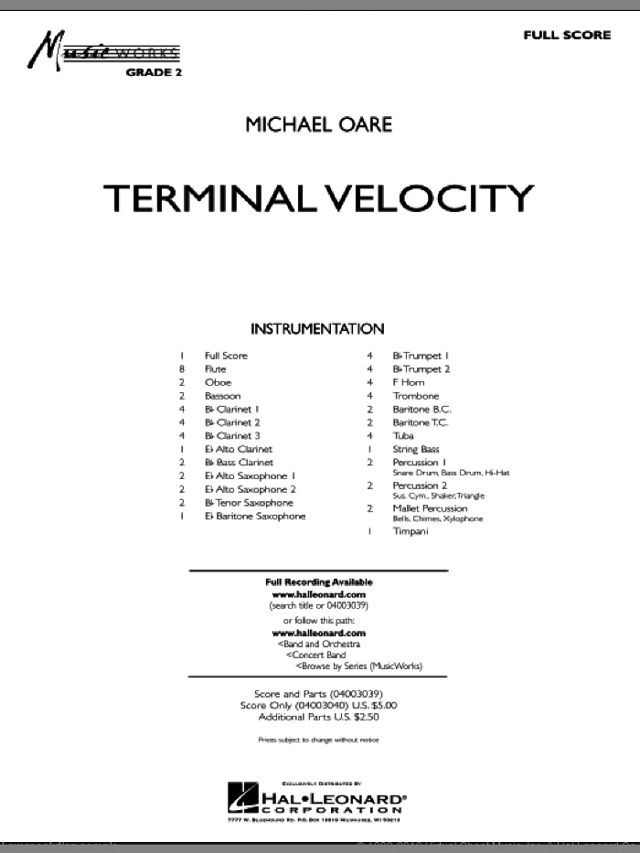 Terminal Velocity (COMPLETE) sheet music for concert band by Michael Oare, intermediate concert band. Score Image Preview.