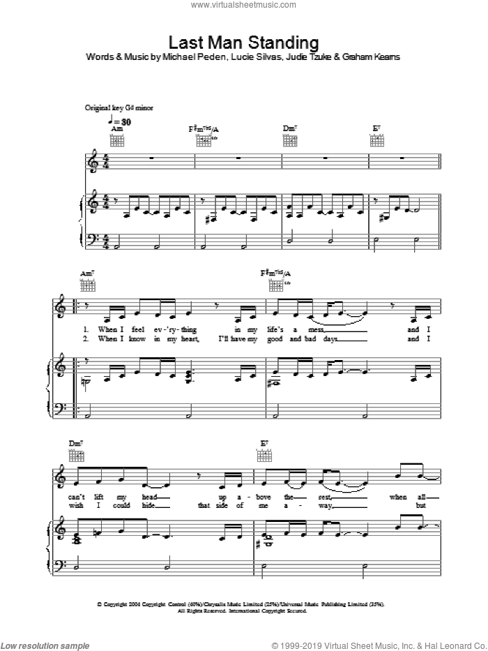 Last Man Standing sheet music for voice, piano or guitar by Lucie Silvas and Judie Tzuke, intermediate. Score Image Preview.