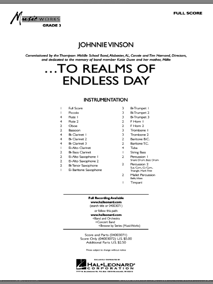 ...To Realms Of Endless Day sheet music for concert band (full score) by Johnnie Vinson