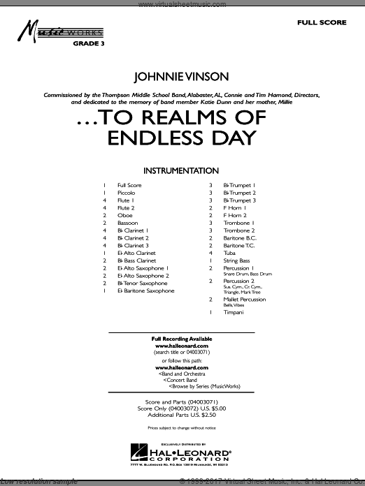 ...To Realms Of Endless Day (COMPLETE) sheet music for concert band by Johnnie Vinson