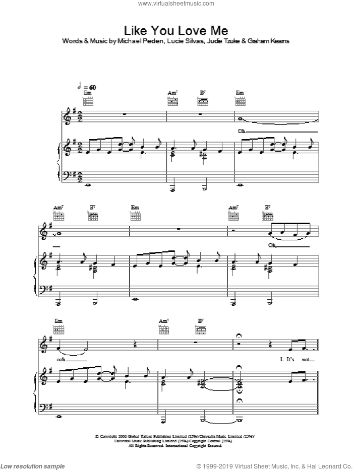 Like You Love Me sheet music for voice, piano or guitar by Michael Peden and Lucie Silvas. Score Image Preview.