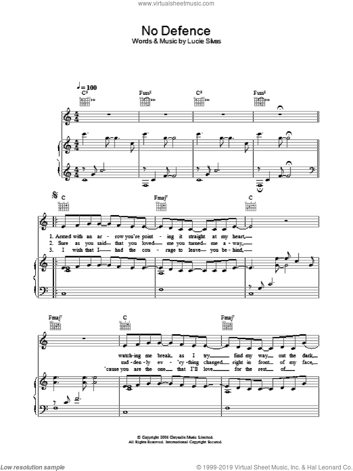 No Defence sheet music for voice, piano or guitar by Lucie Silvas. Score Image Preview.