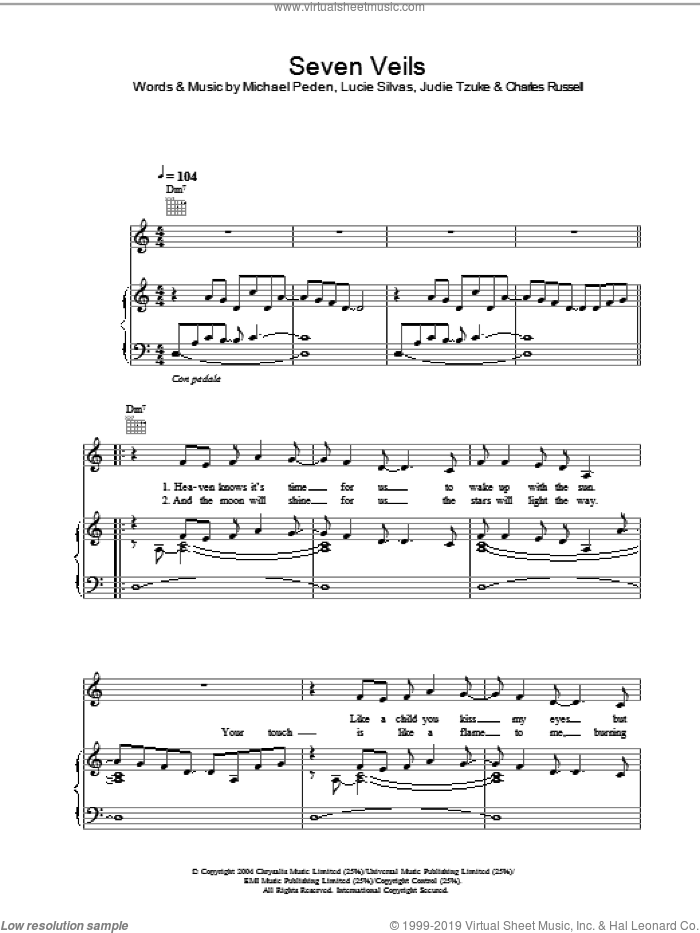 Seven Veils sheet music for voice, piano or guitar by Lucie Silvas, Charles Russell and Michael Peden, intermediate skill level