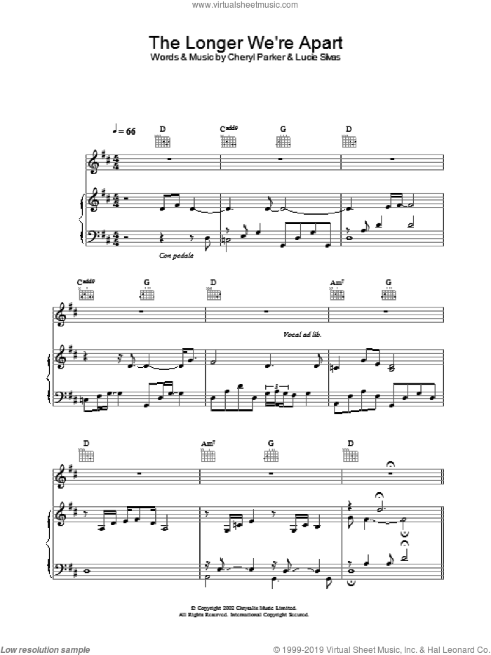 The Longer We're Apart sheet music for voice, piano or guitar by Lucie Silvas and Cheryl Parker, intermediate skill level
