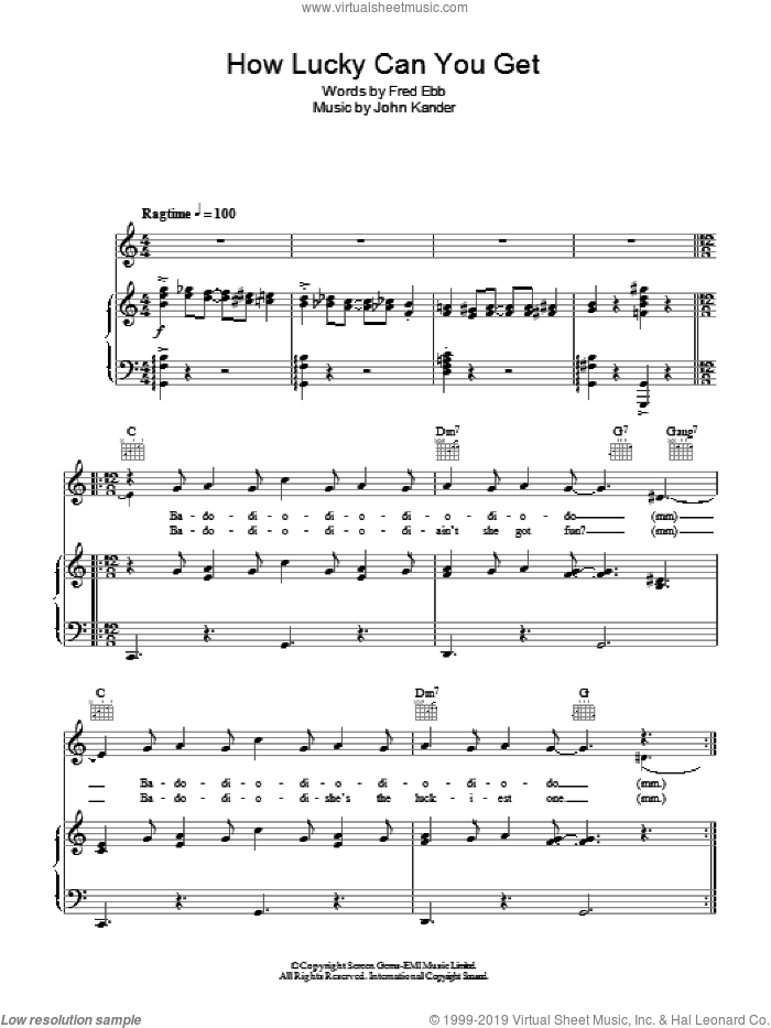 How Lucky Can You Get? sheet music for voice, piano or guitar by Barbra Streisand, Kander & Ebb, Fred Ebb and John Kander, intermediate voice, piano or guitar. Score Image Preview.