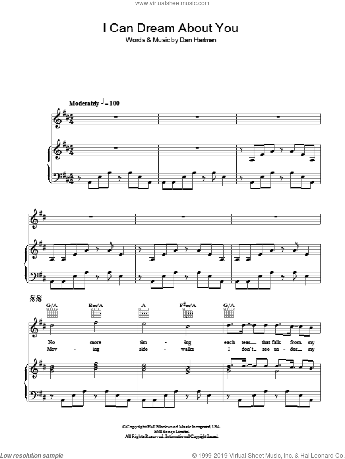 I Can Dream About You sheet music for voice, piano or guitar by Dan Hartman. Score Image Preview.
