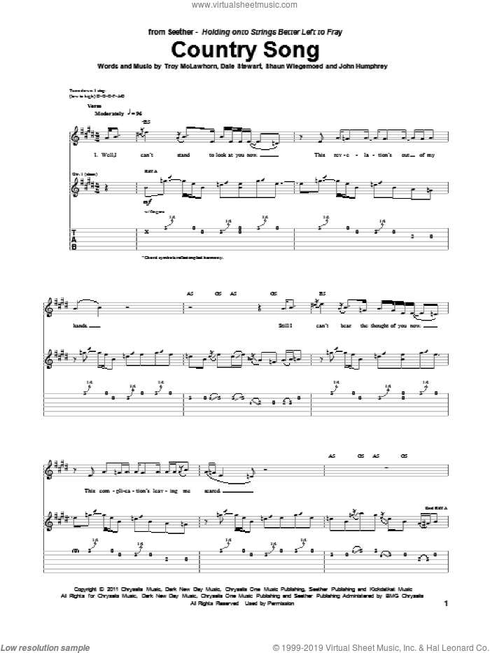 Country Song sheet music for guitar (tablature) by Troy McLawhorn, Seether, Dale Stewart, John Humphrey and Shaun Welgemoed