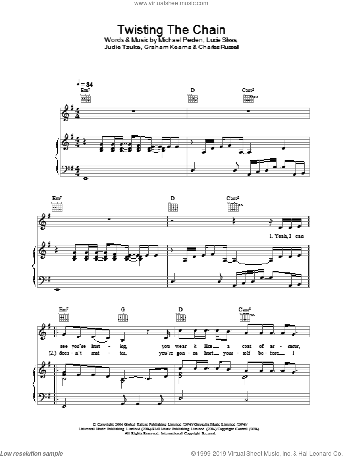 Twisting The Chain sheet music for voice, piano or guitar by Lucie Silvas, Judie Tzuke and Michael Peden, intermediate skill level