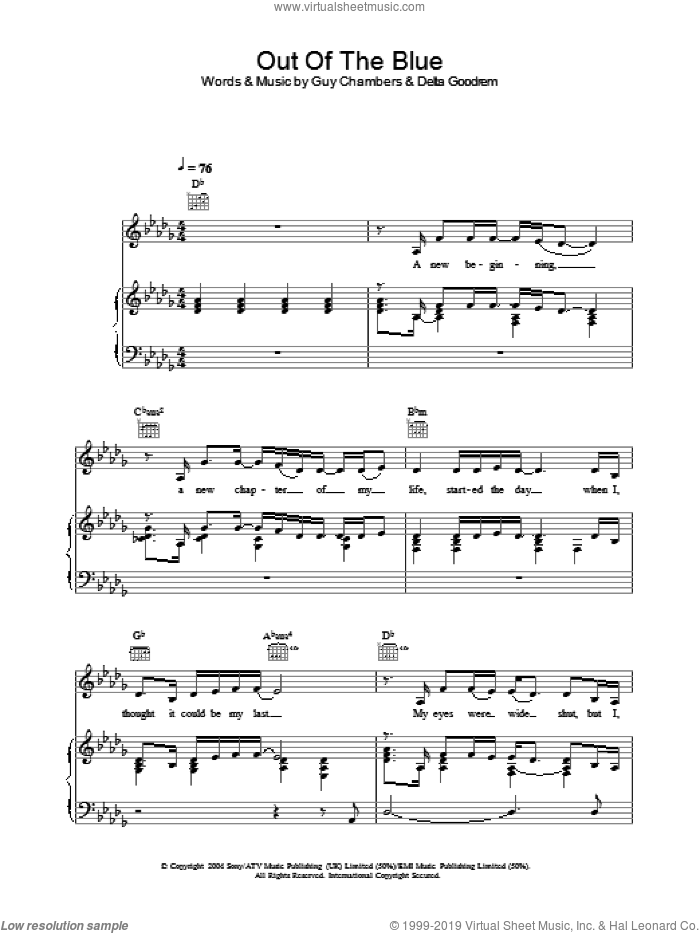 Out Of The Blue sheet music for voice, piano or guitar by Delta Goodrem. Score Image Preview.