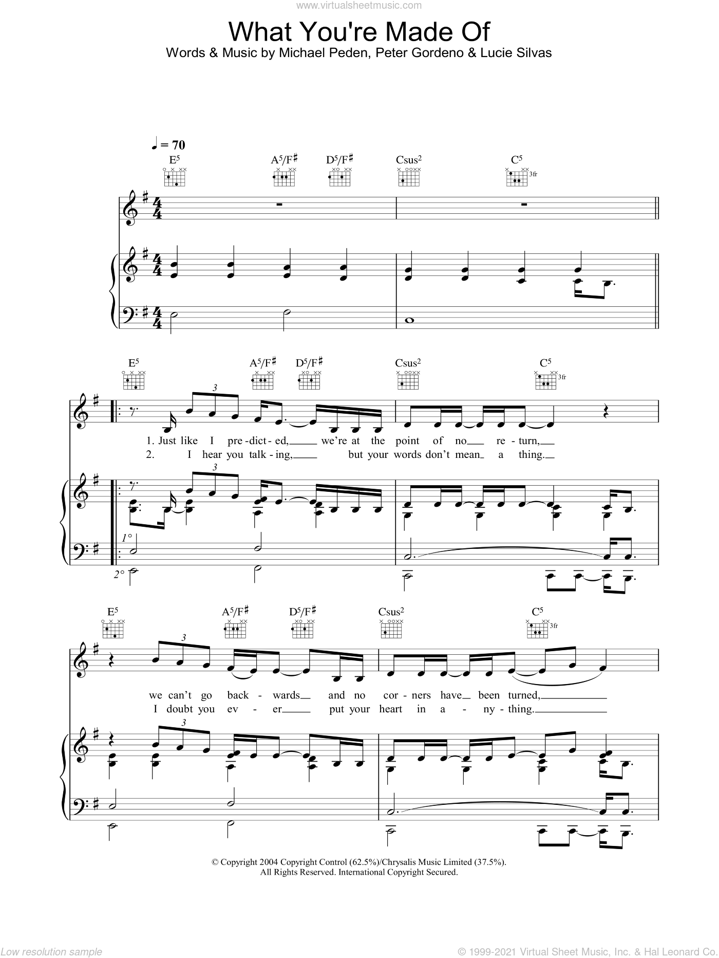 What You're Made Of sheet music for voice, piano or guitar by Lucie Silvas, Michael Peden and Peter Gordeno, intermediate skill level