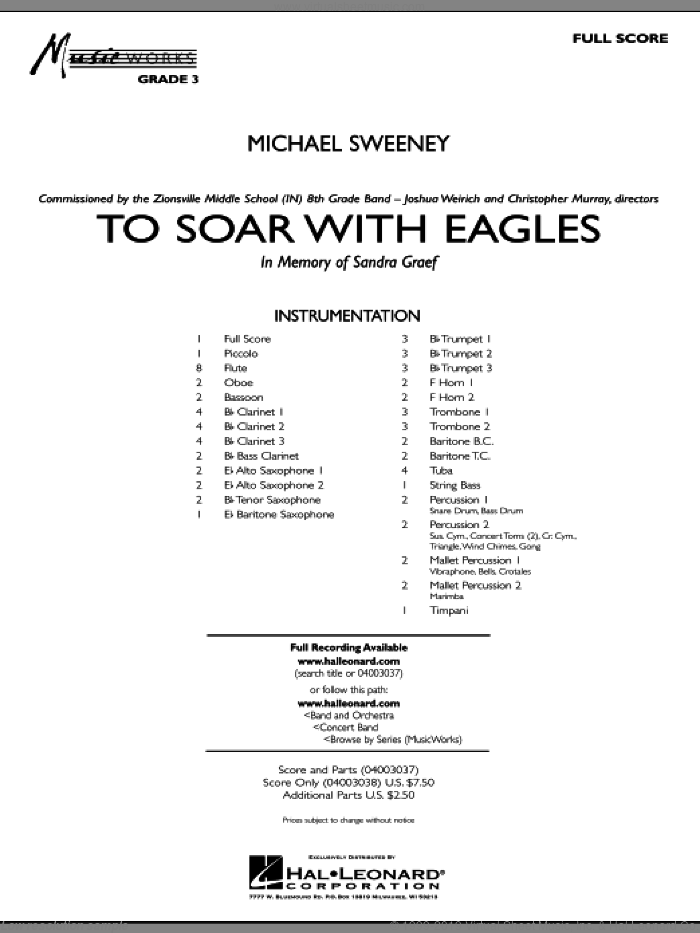 To Soar With Eagles (COMPLETE) sheet music for concert band by Michael Sweeney, intermediate. Score Image Preview.
