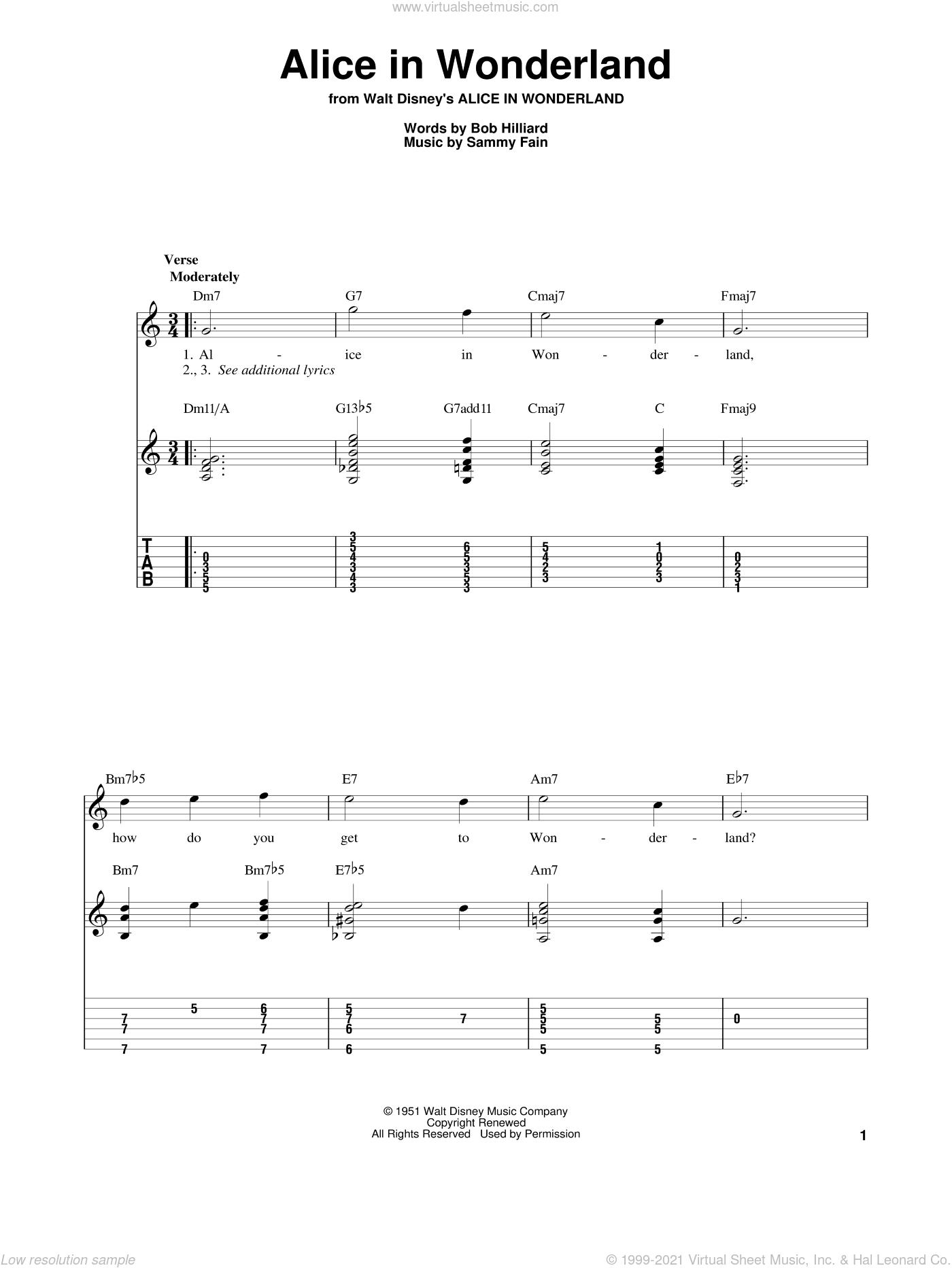 Evans - Alice In Wonderland sheet music for guitar solo [PDF]