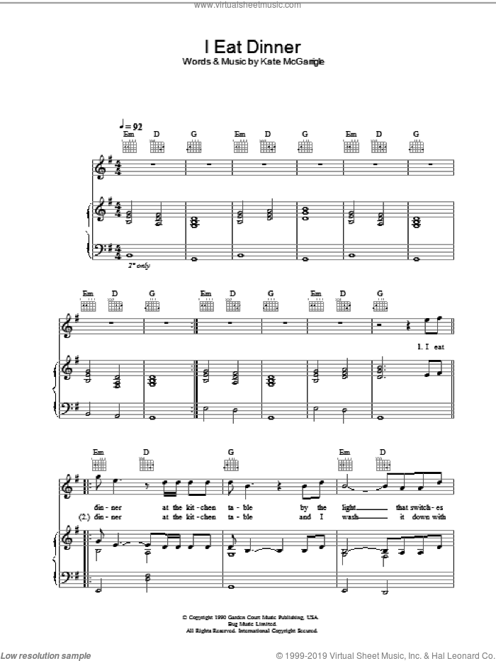 I Eat Dinner sheet music for voice, piano or guitar by Rufus Wainwright, Dido Armstrong and Kate McGarrigle, intermediate skill level