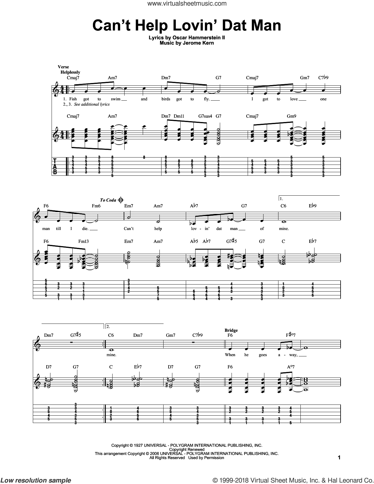 Can't Help Lovin' Dat Man sheet music for guitar solo by Jerome Kern, Annette Warren, Helen Morgan, Show Boat (Musical) and Oscar II Hammerstein, intermediate skill level