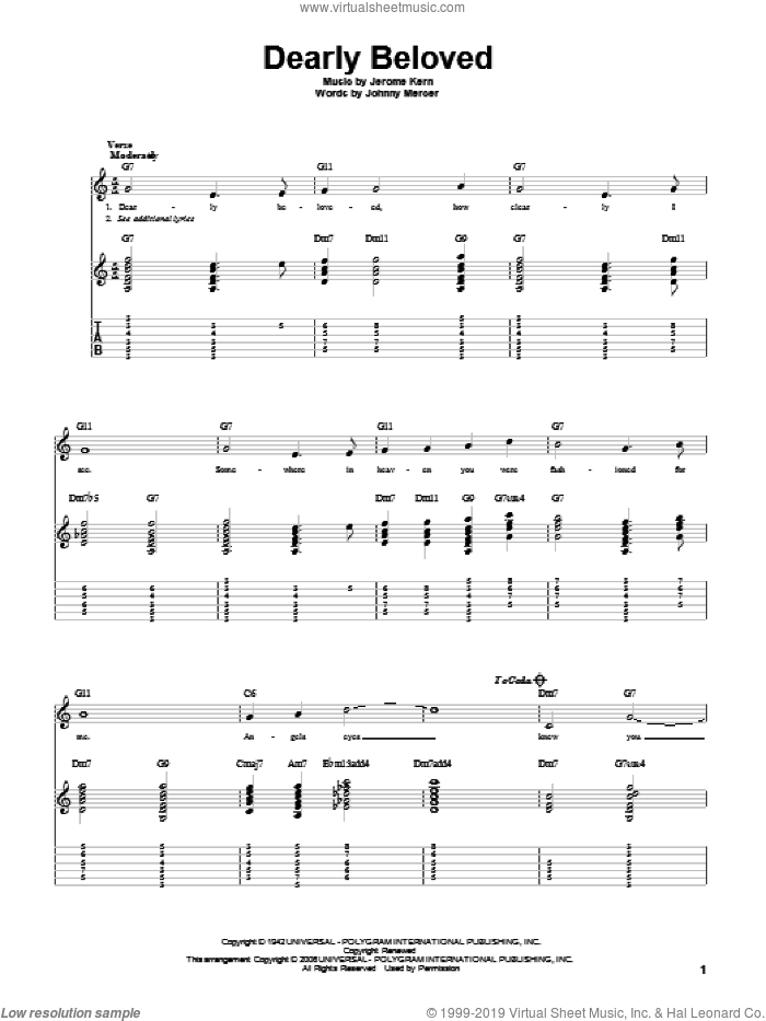 Dearly Beloved sheet music for guitar solo by Jerome Kern and Johnny Mercer. Score Image Preview.