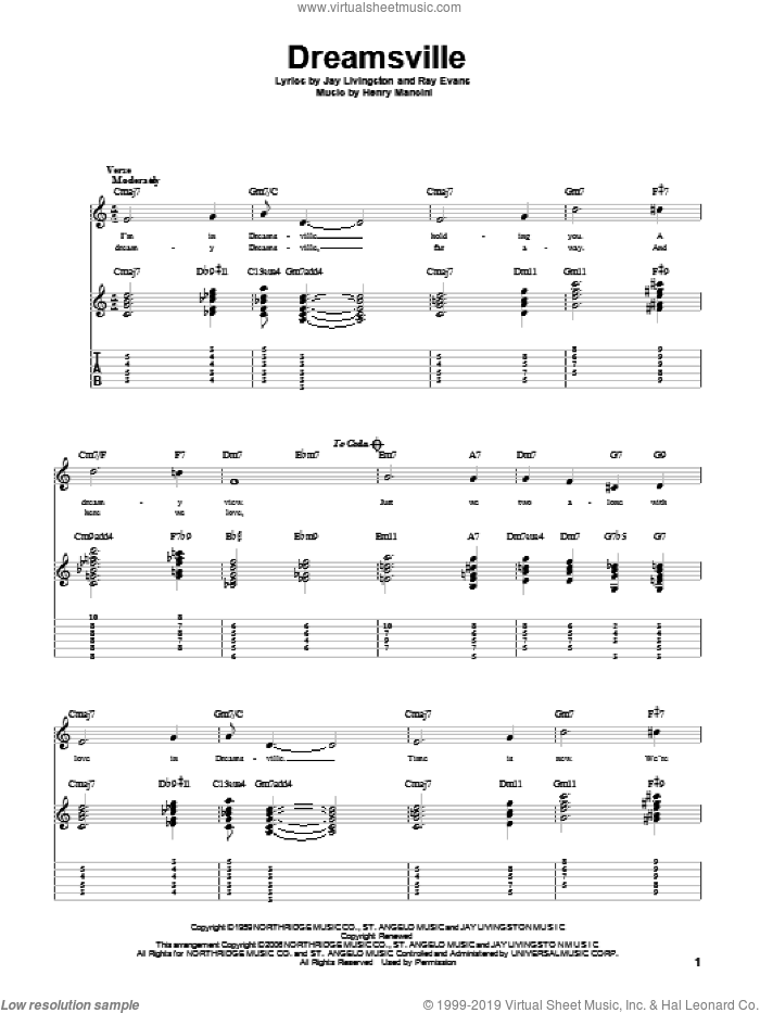Dreamsville sheet music for guitar solo by Henry Mancini, Jay Livingston and Ray Evans, intermediate skill level