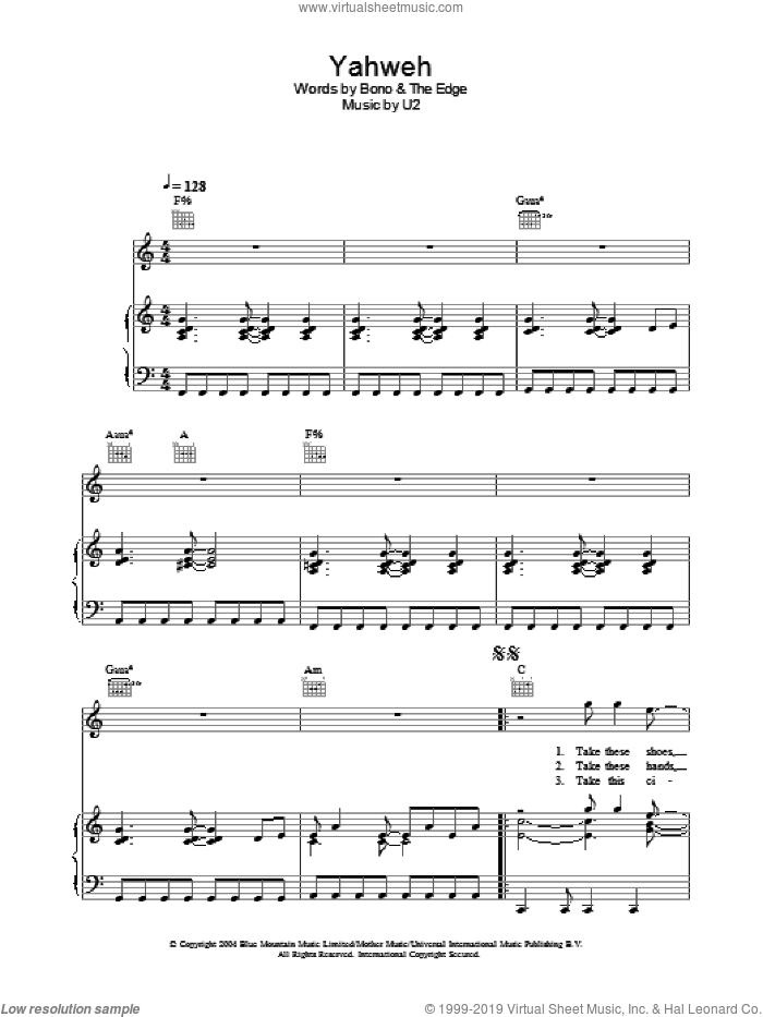 Yahweh sheet music for voice, piano or guitar by U2, Bono and The Edge, intermediate skill level