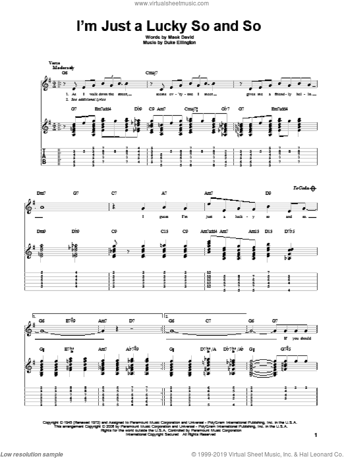 I'm Just A Lucky So And So sheet music for guitar solo by Duke Ellington and Mack David, intermediate. Score Image Preview.