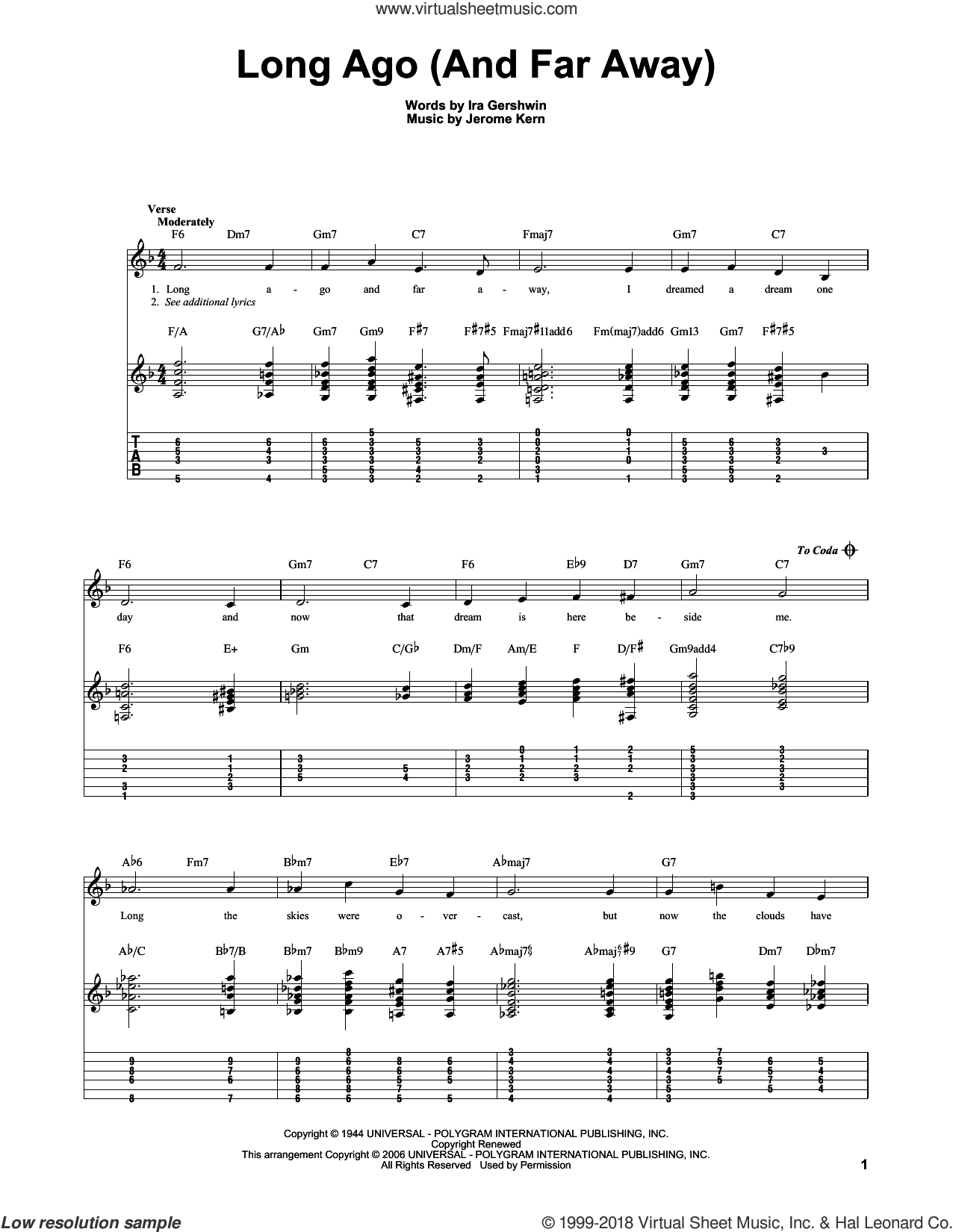 Long Ago (And Far Away) sheet music for guitar solo by Ira Gershwin and Jerome Kern. Score Image Preview.