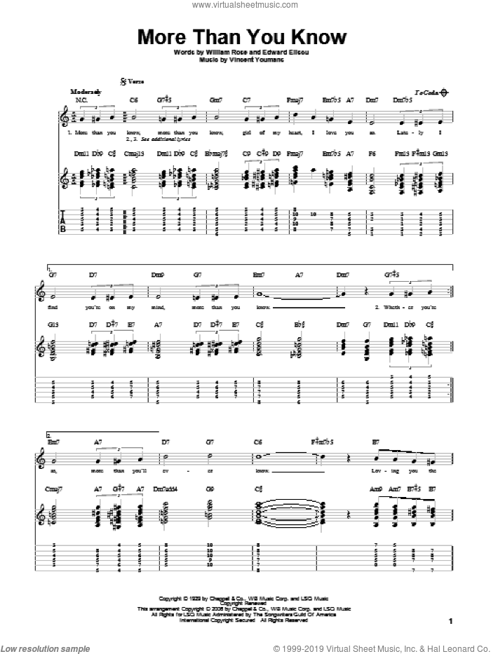 More Than You Know sheet music for guitar solo by Helen Morgan, Edward Eliscu, Vincent Youmans and William Rose, intermediate. Score Image Preview.