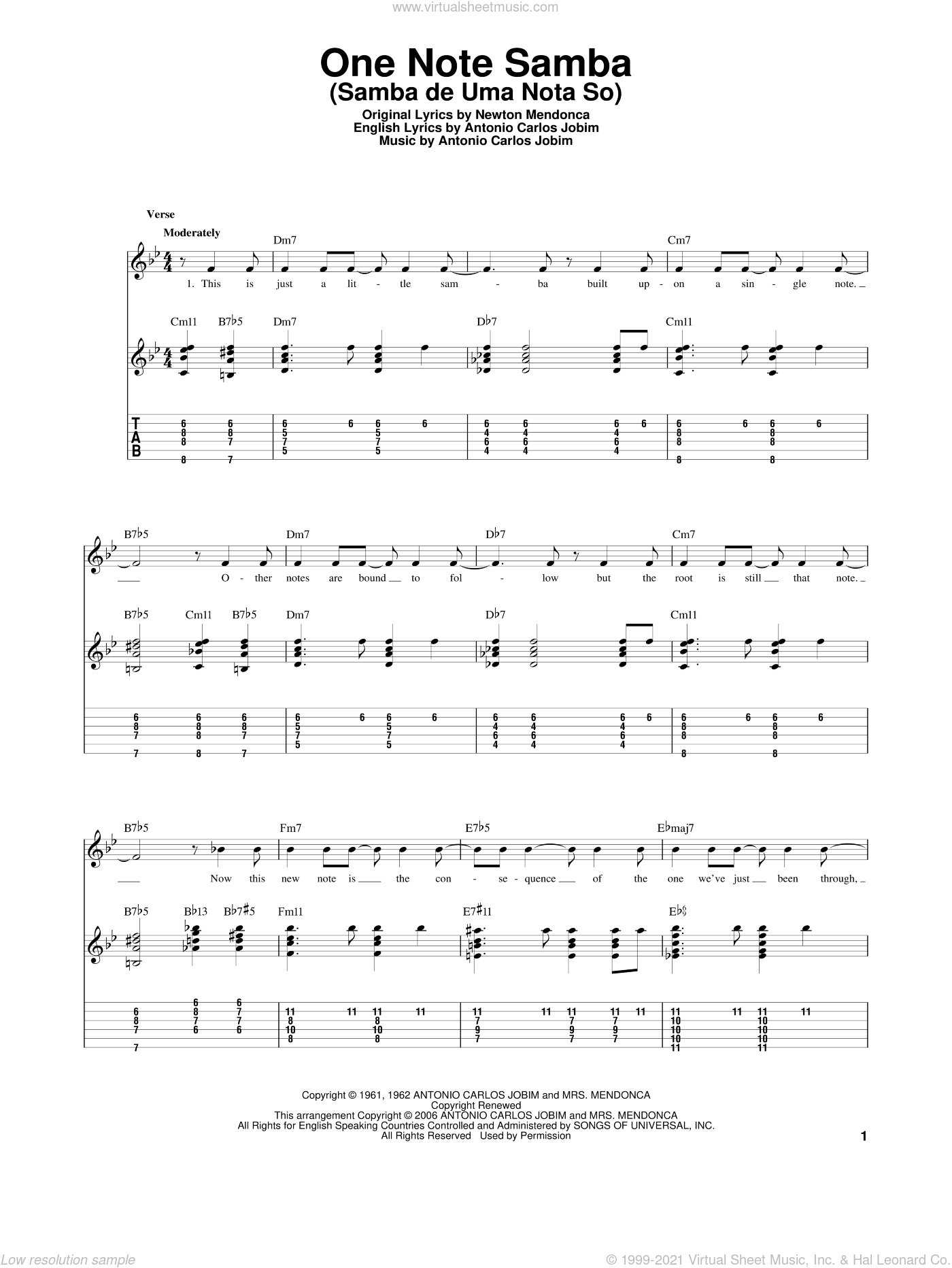 One Note Samba (Samba De Uma Nota So) sheet music for guitar solo by Newton Mendonca and Antonio Carlos Jobim. Score Image Preview.