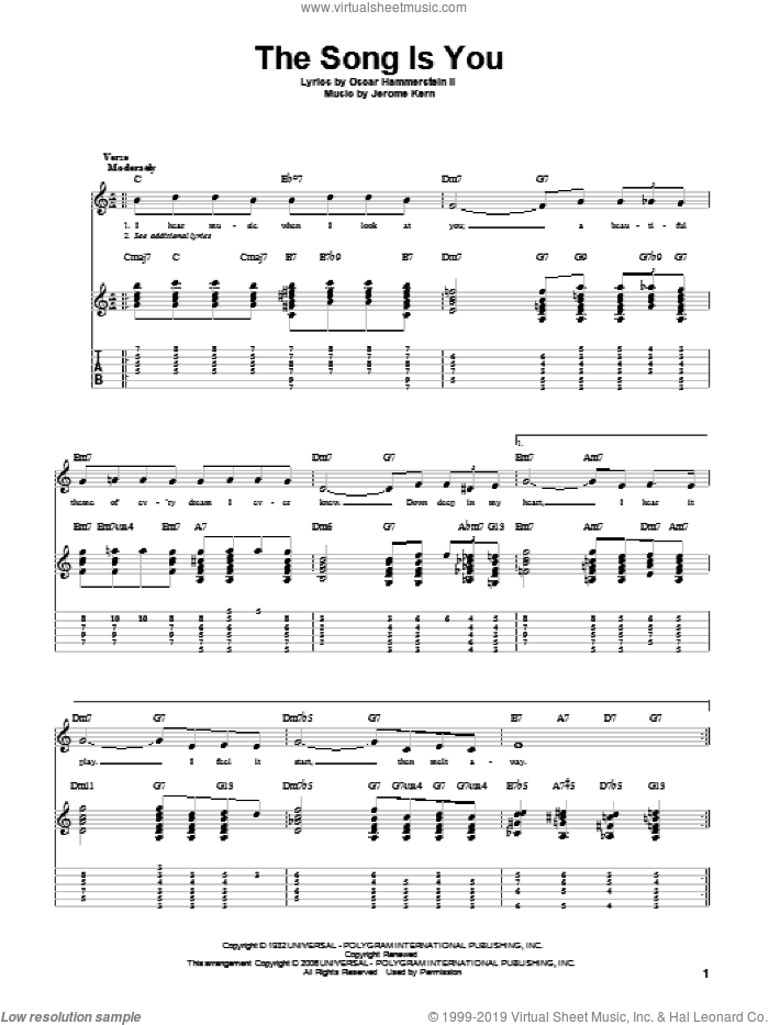 The Song Is You sheet music for guitar solo by Jerome Kern and Oscar II Hammerstein. Score Image Preview.