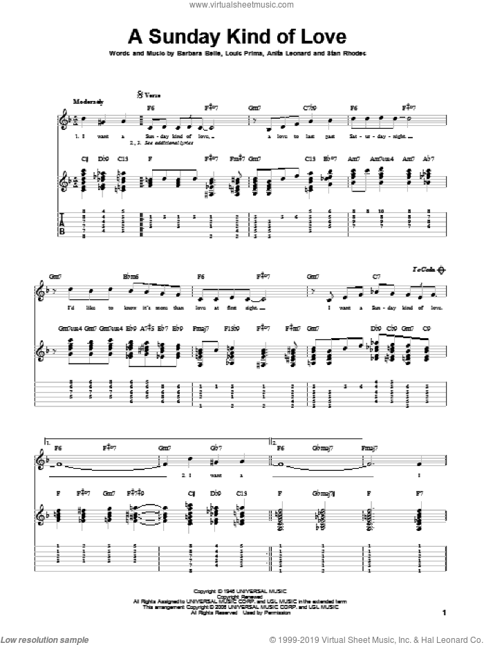 A Sunday Kind Of Love sheet music for guitar solo by Louis Prima, Reba McEntire, Anita Nye, Barbara Belle and Stan Rhodes, intermediate