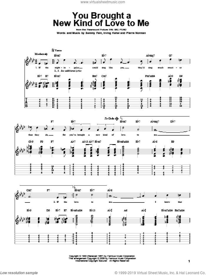You Brought A New Kind Of Love To Me sheet music for guitar solo by Frank Sinatra, Irving Kahal, Pierre Norman and Sammy Fain, intermediate skill level