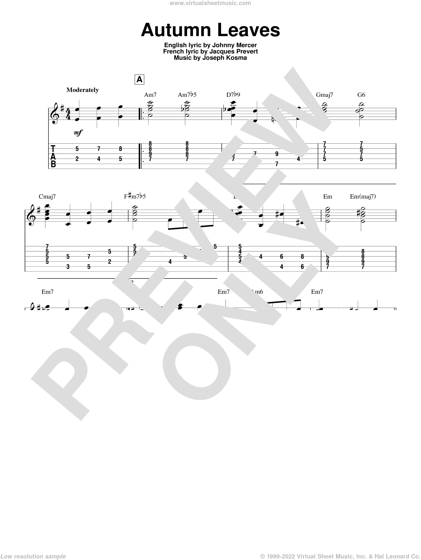 Autumn Leaves sheet music for guitar solo by Johnny Mercer, Jeff Arnold, Mitch Miller, Roger Williams, Jacques Prevert and Joseph Kosma, intermediate skill level