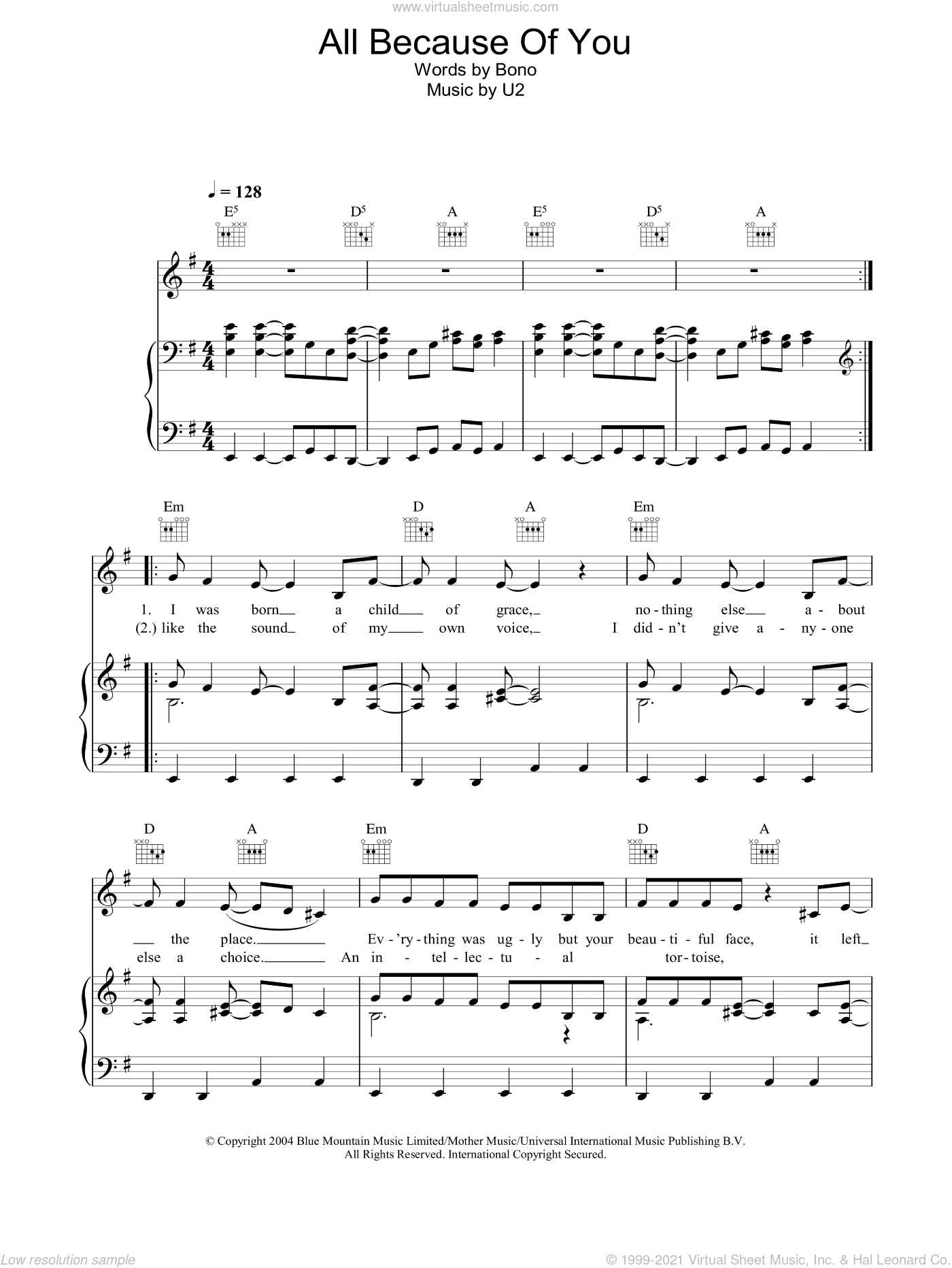 All Because Of You sheet music for voice, piano or guitar by U2, intermediate. Score Image Preview.