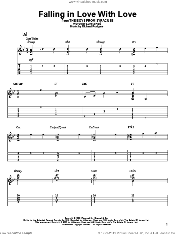 Falling In Love With Love sheet music for guitar solo by Richard Rodgers