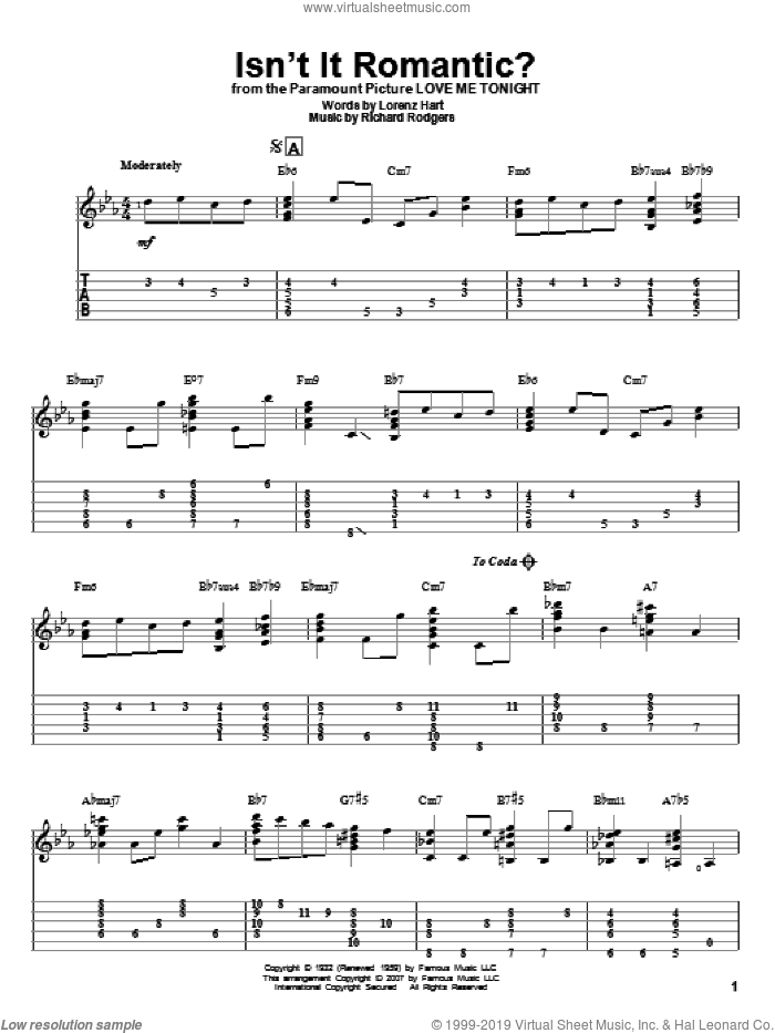 Isn't It Romantic? sheet music for guitar solo by Richard Rodgers