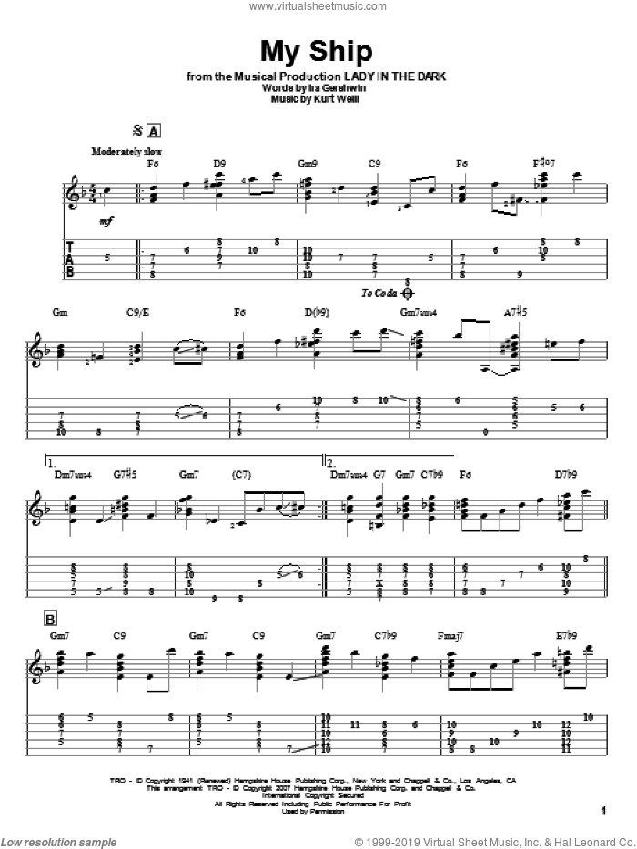 My Ship sheet music for guitar solo by Ira Gershwin and Kurt Weill. Score Image Preview.