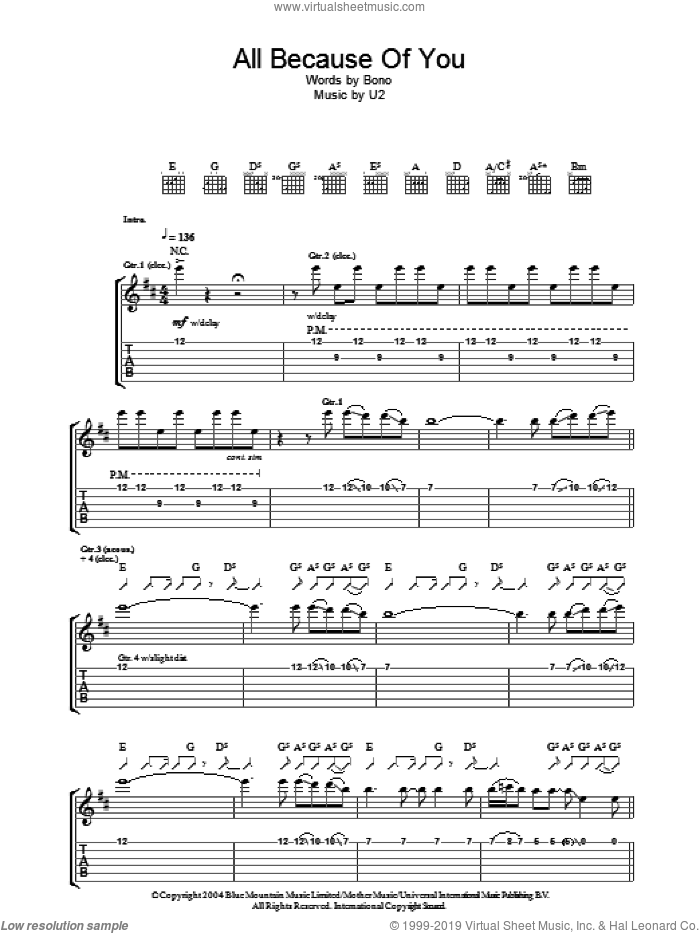 All Because Of You sheet music for guitar (tablature) by U2 and Bono, intermediate. Score Image Preview.