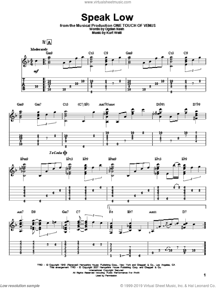 Speak Low sheet music for guitar solo by Kurt Weill and Ogden Nash. Score Image Preview.