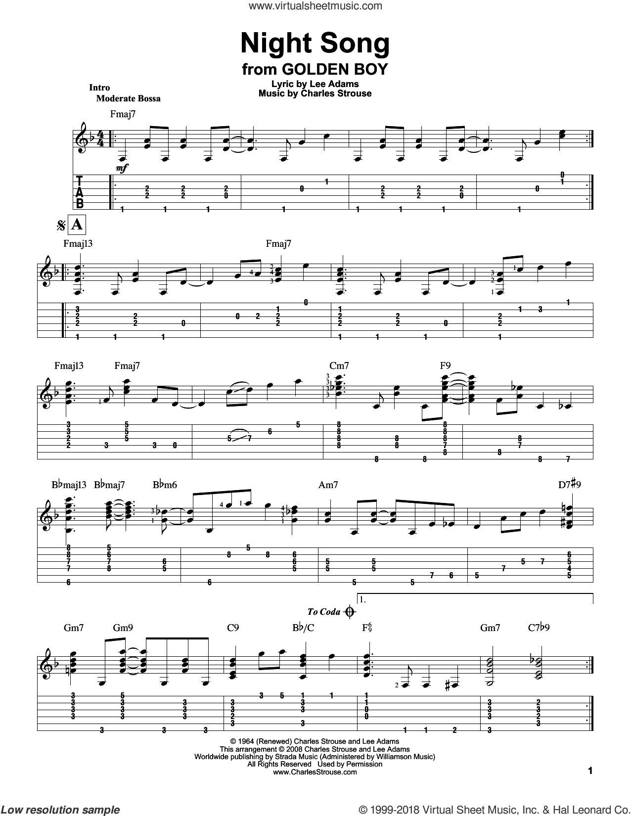 Night Song sheet music for guitar solo by Charles Strouse, Jeff Arnold and Lee Adams, intermediate skill level