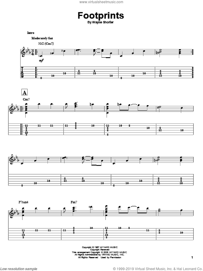 Footprints sheet music for guitar solo by Wayne Shorter, intermediate guitar. Score Image Preview.