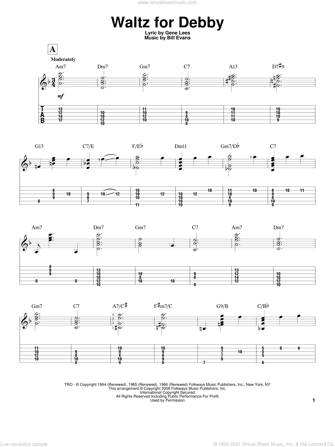 Evans - Waltz For Debby sheet music (intermediate) for guitar solo