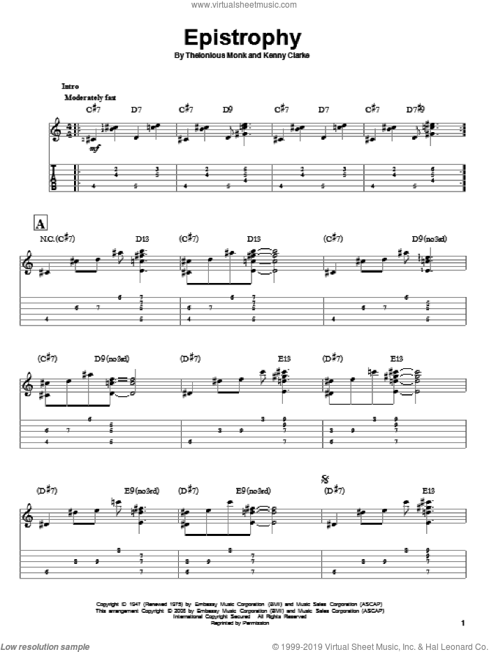 Epistrophy sheet music for guitar solo by Kenny Clarke and Thelonious Monk. Score Image Preview.
