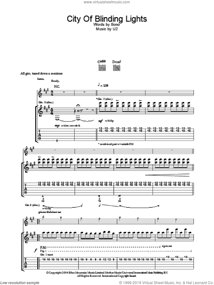 City Of Blinding Lights sheet music for guitar (tablature) by U2 and Bono, intermediate skill level