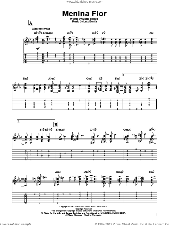 Menina Flor sheet music for guitar solo by Maria Toledo and Luiz Bonfa. Score Image Preview.