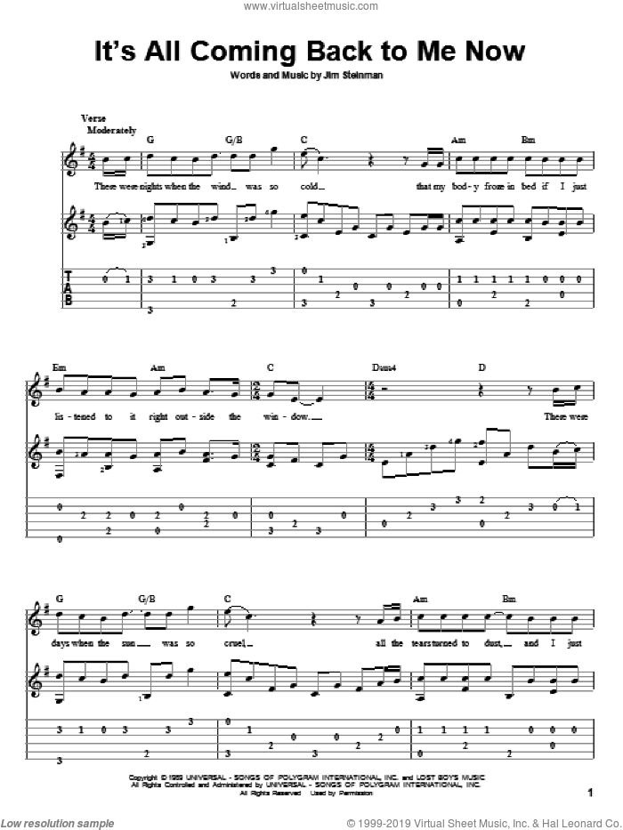 It's All Coming Back To Me Now sheet music for guitar solo by Jim Steinman